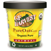 Organic certified oatmeal.  Plain flavor.  GF Harvest PureOats(TM) Cups contain no nuts, made with non-GMO certified ingredients, certified gluten free oats.