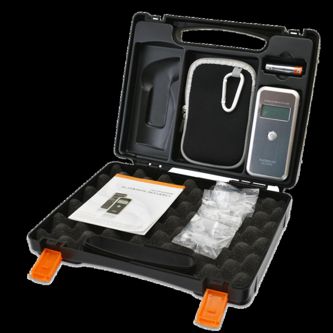 AlcoMate Breathalyzer Premium Alcohol Tester Hard Case Combo Pack 7000-F