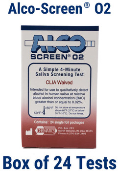 Alco Screen 02 CLIA Waived FDA Cleared Saliva Alcohol Test Chematics 56024