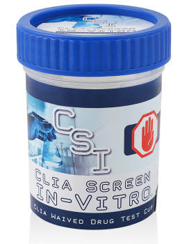 CSI Drug Test Cup - CLIA Screen In-Vitro Multi-panel Drug Screening Device Label