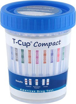 T-Cup Compact Drug Test Cup 12-Panel Wondfo CLIA Waived CDOA-6125 Strips Visible