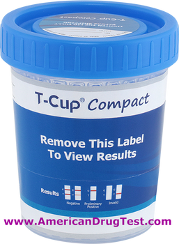 T-Cup Compact Drug Test Cup 10-Panel Wondfo CLIA Waived CDOA-8104, CDOA-8105 Labeled
