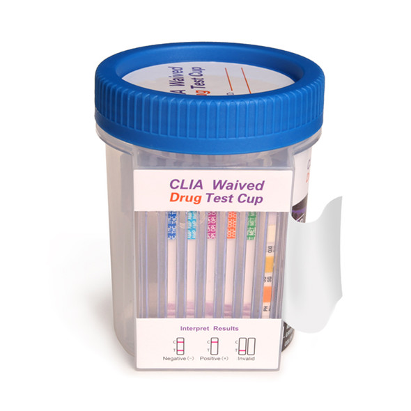 5 Panel Drug Test Flat Front Cup CLIA Waived with Adulterants  from Healgen Scientific