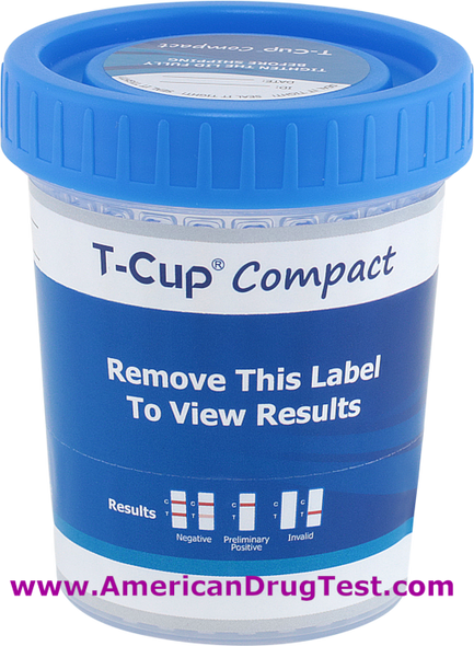 T-Cup Compact Drug Test Cup 5-Panel Wondfo CLIA Waived CDOA-254 Labeled