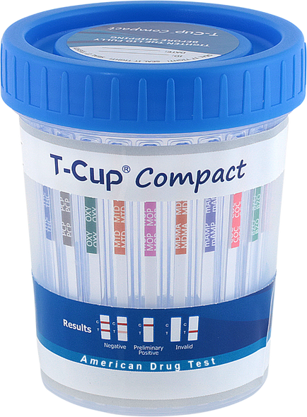TCup Compact Drug Test Cup 5-Panel Wondfo CLIA Waived CDOA-254 Strips Visible