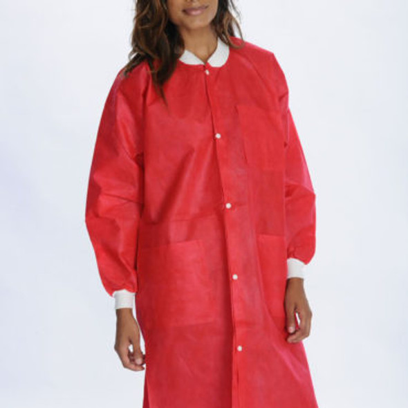 ValuMax Lab Coat Extra-Safe, Red, Fluid Resistant, Knee Length, 10/Package, SMS Fabric