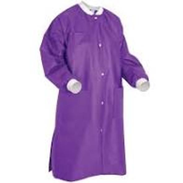 ValuMax Lab Coat Extra-Safe, Deep Purple, Fluid Resistant, Knee Length, 10/Package, SMS Fabric