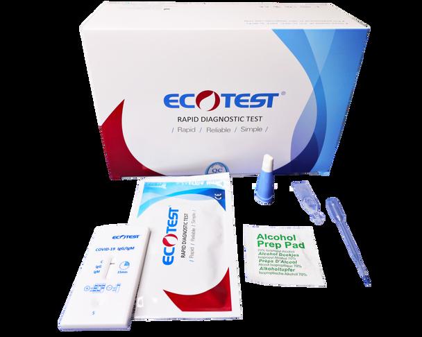 EcoTest® COVID 5 Minute Rapid Diagnostic Antibody Test Kit, FDA EUA Authorized, CE Approved