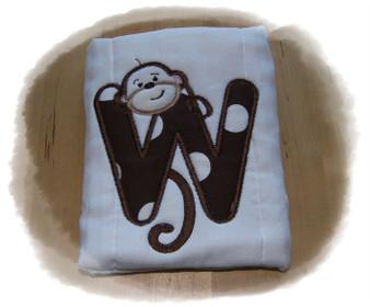 Monkey Alpha Burp Cloth