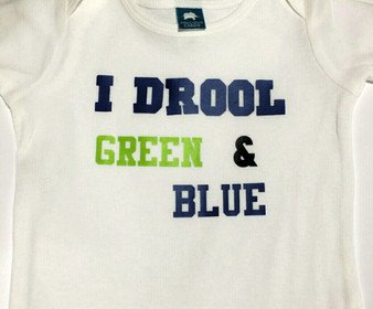 I Drool Green and Blue Seahawks BIB