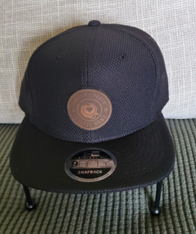 Black Flat Bill Trail Youth Leather Patch Hat