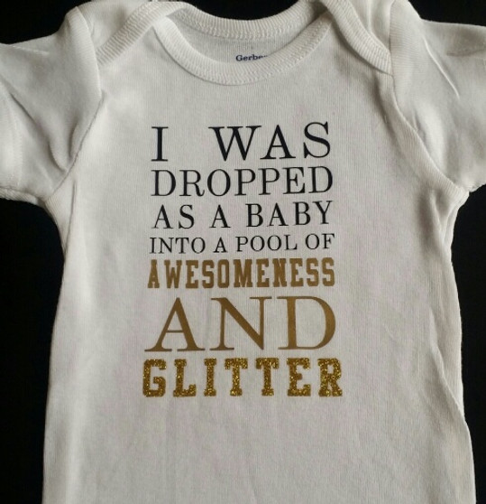 I was dropped as a baby glitter shirt