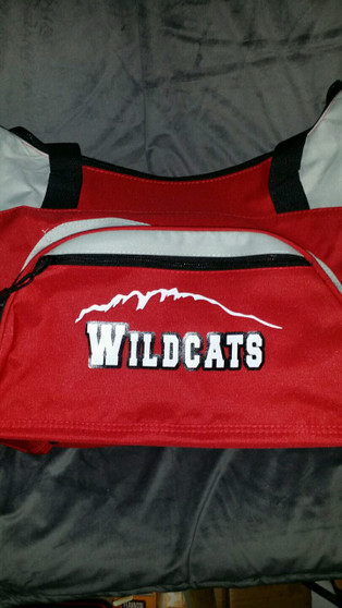 Wildcat bag with vinyl design.