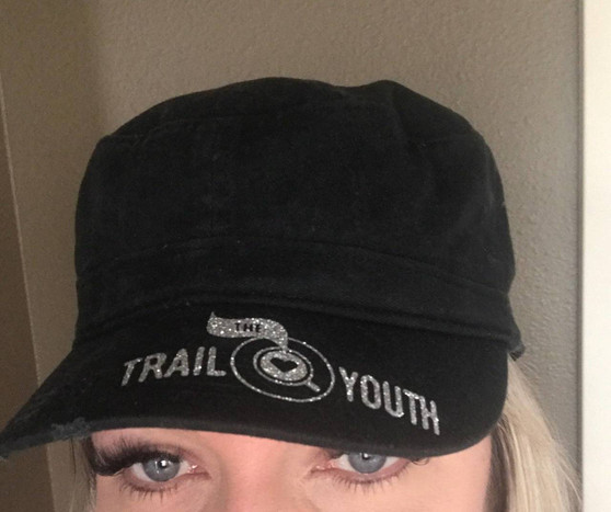 Black Trail Youth Military Style Hat with Bling
