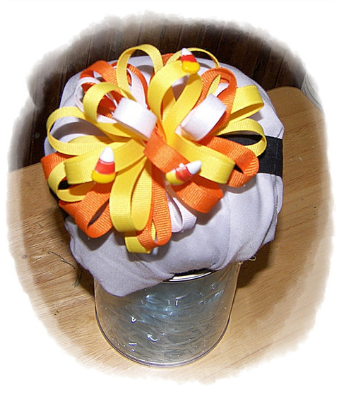 Candy corn puff bow