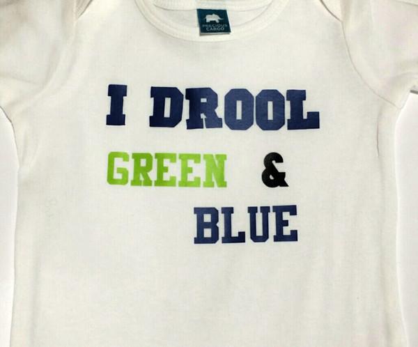 I Drool Green and Blue Seahawks BURP CLOTH