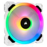 Product image for Corsair LL120 RGB 120mm Independent RGB PWM Fan White   AusPCMarket.com.au