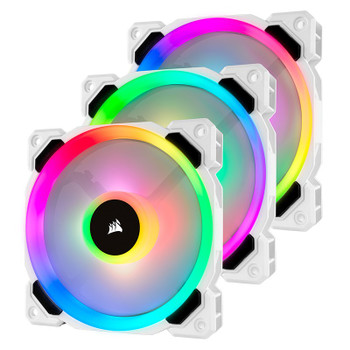 Product image for Corsair LL120 RGB White Triple Fan Kit with Lighting Node PRO | AusPCMarket Australia
