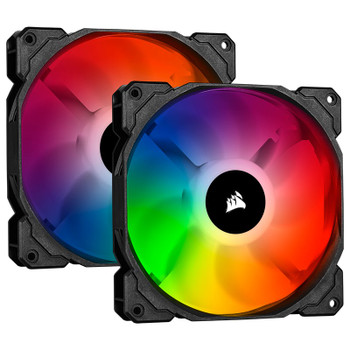 Product image for Corsair iCUE SP140 RGB PRO 140mm Case Fan - 2 Pack with Lighting Node CORE | AusPCMarket Australia