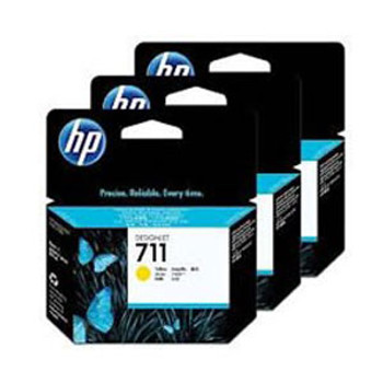 Image for HP 711 3-pack 29-ml Yellow Ink Cartridges CZ136A AusPCMarket