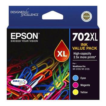 Image for Epson 702XL High Capacity DURABrite Ultra CMY Colour Ink Cartridge Pack AusPCMarket