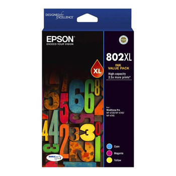 Image for Epson 802XL High Capacity DURABrite Ultra CMY Colour Ink Cartridge Pack AusPCMarket