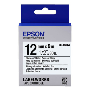 Image for Epson Label Tape 12mm Black on White - 9 metres AusPCMarket