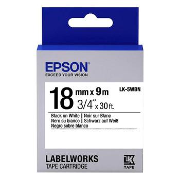 Image for Epson Label Tape 18mm Black on White - 9 metres AusPCMarket
