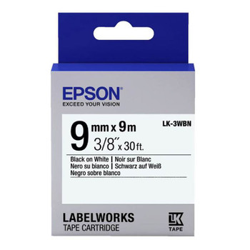 Image for Epson Label Tape 9mm Black on White - 9 metres AusPCMarket