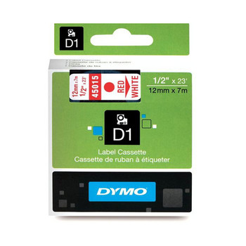 Image for Dymo Red on Wht 12mmx7m Tape 12mm x 7m AusPCMarket