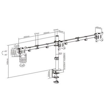 Brateck Triple Screens Economical Double-Joint Articulating 13in-27in Monitor Arms Product Image 2