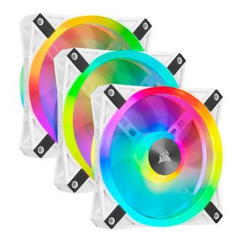 Image for Corsair iCUE QL120 RGB White 120mm PWM Fan - Three Pack with Lighting Node CORE AusPCMarket