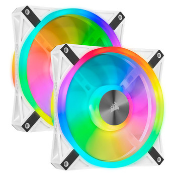 Image for Corsair iCUE QL140 RGB White 140mm PWM Fan - Dual Pack with Lighting Node CORE AusPCMarket