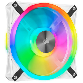 Corsair iCUE QL140 RGB White 140mm PWM Fan - Dual Pack with Lighting Node CORE Product Image 2