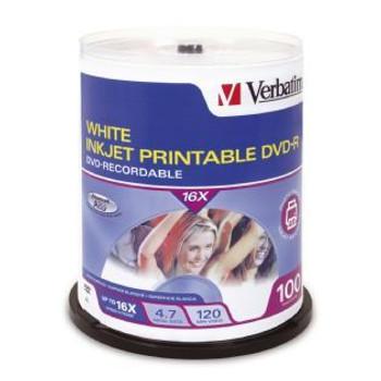Image for Verbatim DVD-R 4.7GB White InkJet Printable 100 Pack AusPCMarket