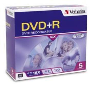 Image for Verbatim DVD+R 16X Jewel 5pk 4.7GB AusPCMarket