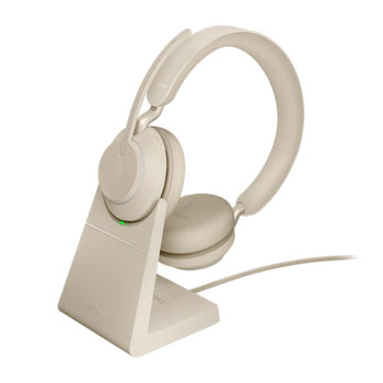 Image for Jabra Evolve2 65 MS USB-A Stereo Bluetooth Headset w/ Charging Deskstand - Beige AusPCMarket