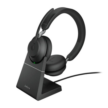 Image for Jabra Evolve2 65 MS USB-A Stereo Bluetooth Headset w/ Charging Deskstand - Black AusPCMarket