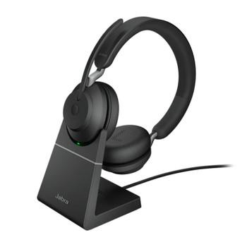 Image for Jabra Evolve2 65 MS USB-C Stereo Bluetooth Headset w/ Charging Deskstand - Black AusPCMarket