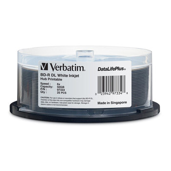Image for Verbatim 97334 50GB BD-R Dual Layer IJP Recordable Disc - 25-Pack Spindle AusPCMarket