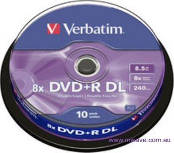 Image for Verbatim DVD+R Dual Layer Disc 8.5GB 8x Speed 10Pack AusPCMarket
