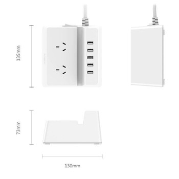 Orico ODC-2A5U Dual AC Outlet & 5 USB 40W Smart Charging Power Strip - White Product Image 2