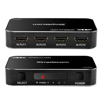 Simplecom CM324 4 Port 4K HDMI 2.0 Switch with IR Remote Product Image 2