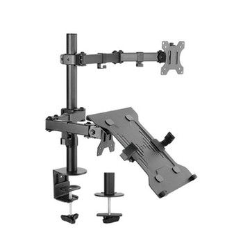 Image for Brateck Economical Double-Joint Articulating Monitor Arm with Laptop Holder AusPCMarket