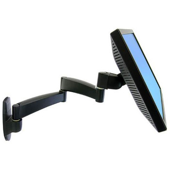 Ergotron 200 Series Wall Mount Arm, 2 Extensions - Up to 27in Display - Black Product Image 2