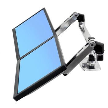 Ergotron LX Dual Side-by-Side Arm Monitor Mount - Polished Aluminum Product Image 2