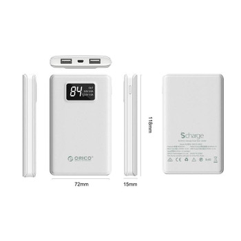 Orico 8000mAh Smart Power Bank with Display Screen - White Product Image 2