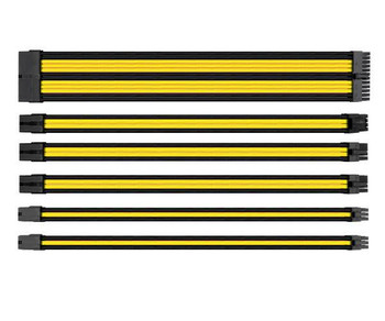 Image for Thermaltake TtMod Sleeved PSU Extension Cable Set – Yellow/Black AusPCMarket