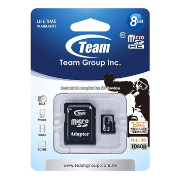 Image for Team 8GB MicroSD Class 10 Card with SD Card Adapter AusPCMarket