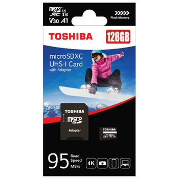 Toshiba 128GB microSD U3 Memory Card with SD Adapter - 90-100MB/s Product Image 2